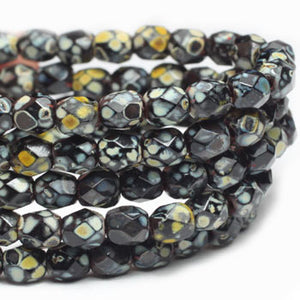 Black Picasso Czech Fire Polished Czech Glass Beads 4mm (50 pcs) 137V3