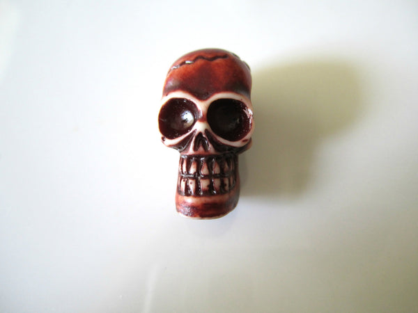 LAST CHANCE Brown Red Skull Resin Bead Brown Large Hole Skull Bead 27x15mm (1 pc) 46V8