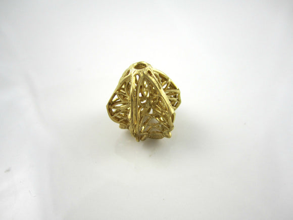 Raw Brass Carved Filigree Bead Brass Bead Filigree Findings 16x16mm (1pc) 96V7