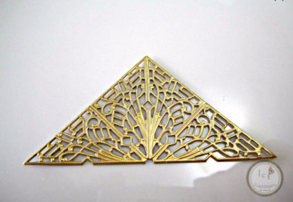 Raw Brass Carved Filigree Triangle Brass Carved Filigree Findings 72x36mm (1 pc) 6V7