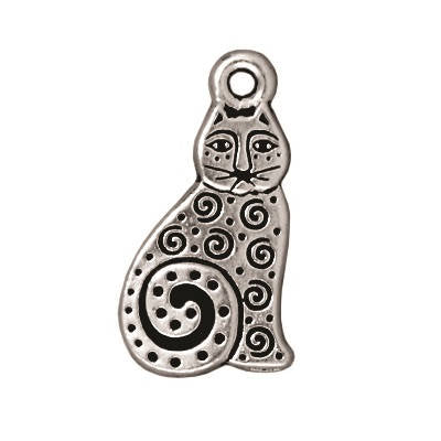 LAST CHANCE Silver Plated Pewter TierraCast Cat Charm Findings Jewelry Supplies 20x10mm (1 pc) 65V13