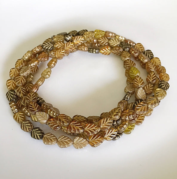 Brown Gold Birch Leaves Czech Glass Beads 10x8mm (6 pcs) 14V1
