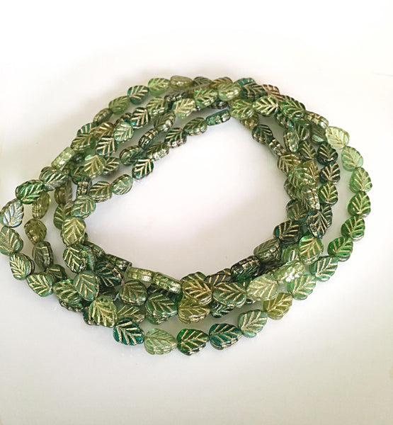 Green Gold Birch Leaves Czech Glass Beads 10x8mm (6 pcs) 13V1