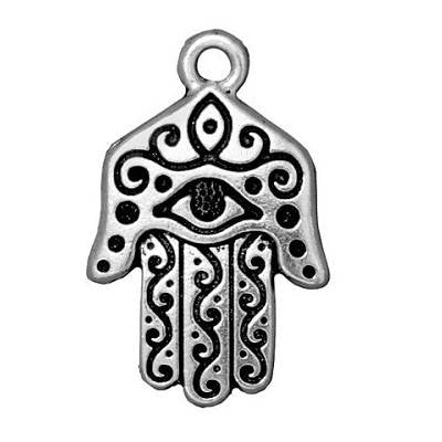 LAST CHANCE Antiqued Silver Plated TierraCast Hasma Charm 27x17mm (1 pc) 58V13