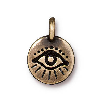 LAST CHANCE Antiqued Brass Plated TierraCast Evil Eye Charm 17x12mm (1 pc) 68V13