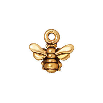 LAST CHANCE Antiqued Gold Plated Pewter TierraCast Honeybee Charm 11x11mm (1 pc) 72V13