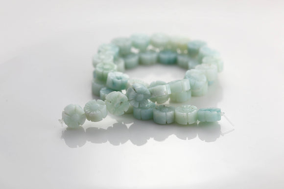 Blue Amazonite Hawaiian Flower Gemstone Beads 10mm (1 pc) 7V21