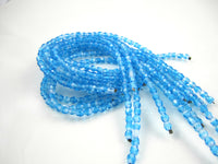 Aqua Czech Fire Polished Faceted Opaque Beads 4mm (50 pcs) 301V3