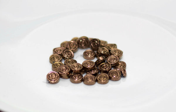 Bronze Hematine Iridescent Bronze Rose Coin Beads 12x4mm (6 pcs) 36V13