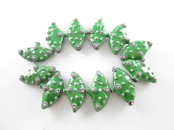 Enamel Green Silver Copper Puffy Fan Bead Triangle 25x15mm (1 pc) 8V35