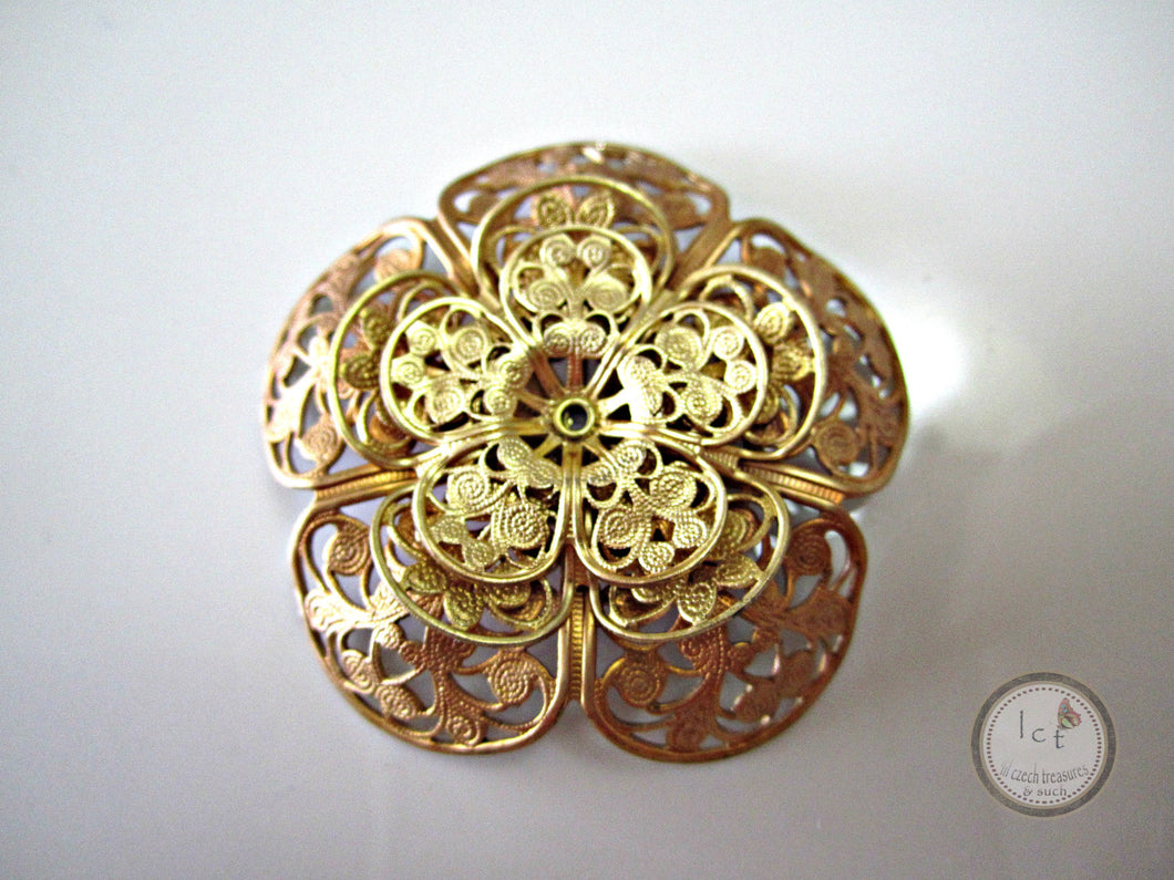 ON SALE Raw Brass Flower Filigree Brass Five Petal Flower Filigree Findings Raised Brass Filigree Jewelry Supplies 44mm (1 pc) 5V7 for $0.05 at Lil Czech Treasures