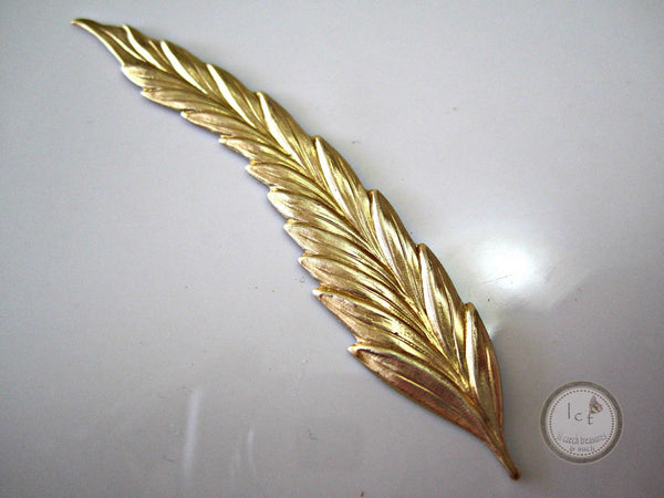 Left Raw Brass Stamped Leaf Jewelry Supplies 75mm (1 pc) 10V7