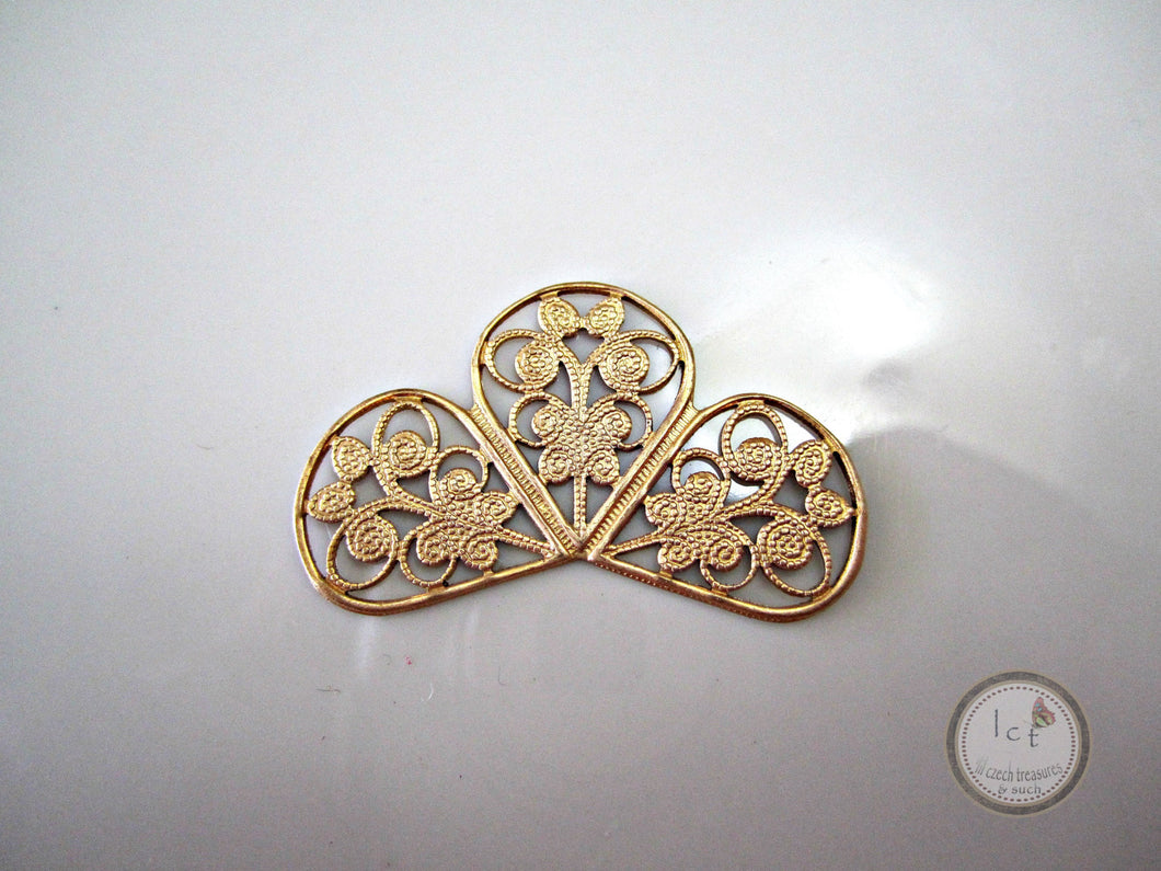 ON SALE Raw Brass Carved Filigree Brass Three Leaf Clover Filigree Findings Brass Clover Filigree Raw Brass Butterfly 38x12mm (1 pc) 87V7 for $0.01 at Lil Czech Treasures