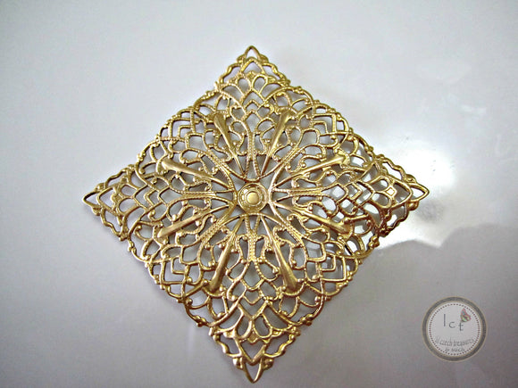 Raw Brass Carved Filigree Brass Square Filigree Findings 41mm (1 pc) 22V7