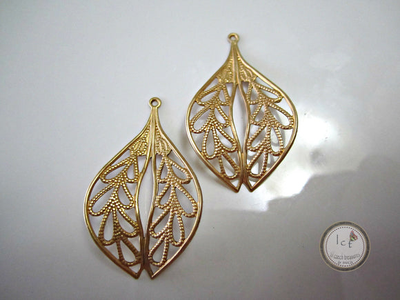 Raw Brass Oval Filigree Earring Jewelry Making Charm Drop Findings 41x19mm (1 pc) 33V7