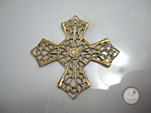 Raw Brass Carved Filigree Brass Diamond Filigree Findings 31mm (1 pc) 47V7