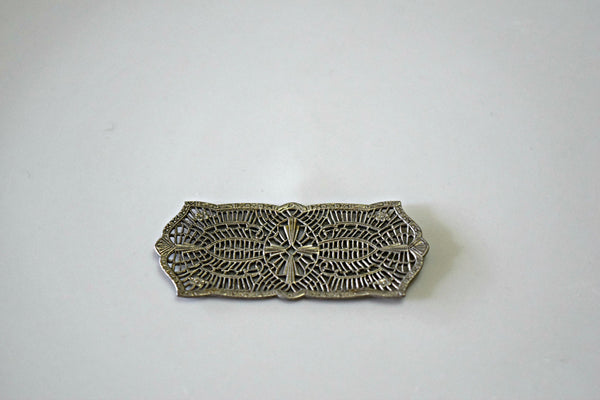Vintage Antique Silver Lace Filigree Rectangle Findings
