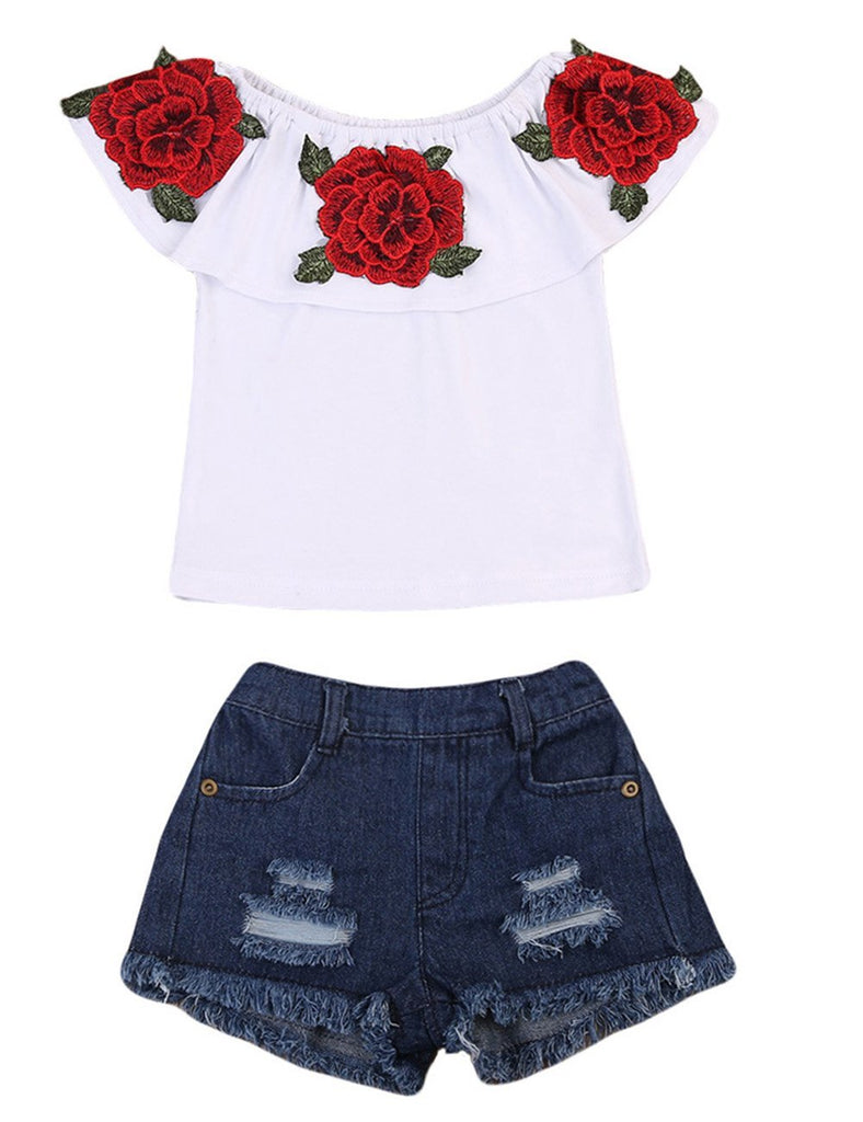 664b137ea0da Canis Little Girls Off-Shoulder Rose Embrodidery Applique Ruffle Top ...