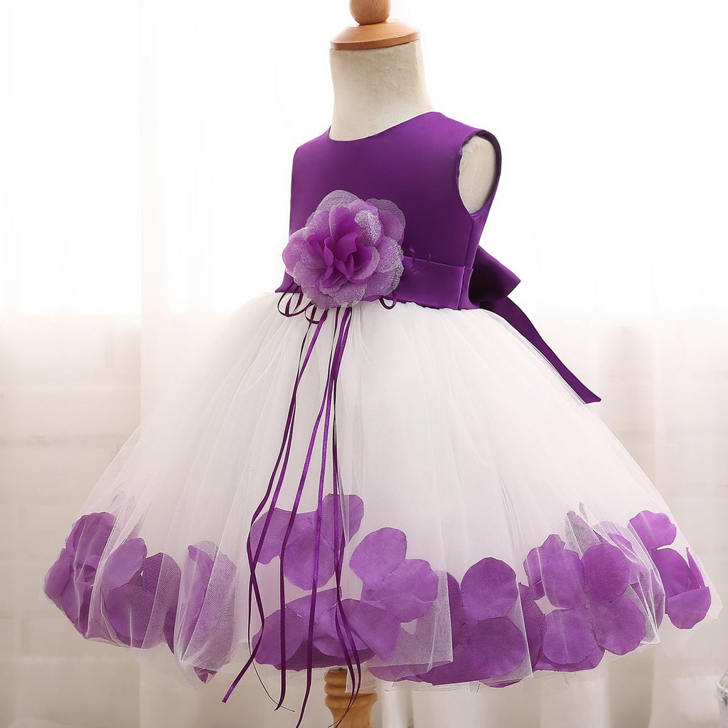 24c71372248 ... NNJXD Girl Tutu Flower Petals Bow Bridal Dress for Toddler Girl ...