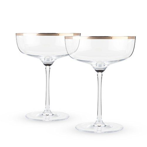 Copper Rimmed Crystal Coupe Glasses (Set of 2)
