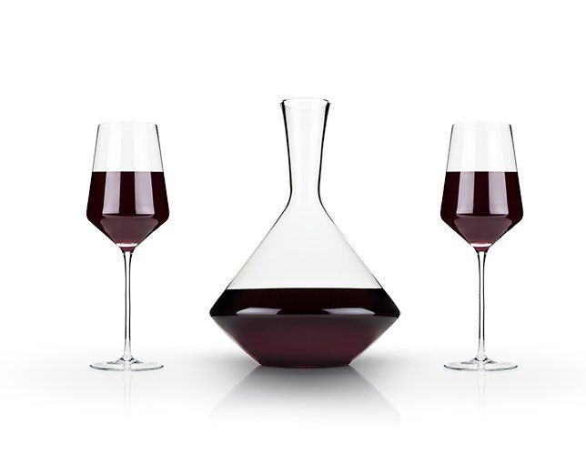 Angled Crystal Decanter and Stemware Set (Set of 3)