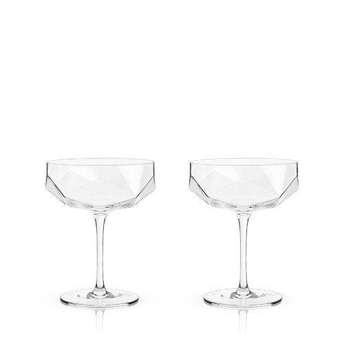 Faceted Crystal Coupe Glasses (Set of 2)