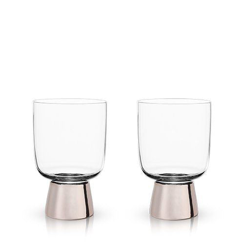 Copper Footed Glass Tumblers (Set of 2)