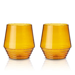 Amber Art Deco Tumblers (Set of 2)