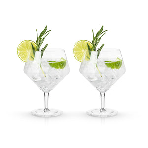 Faceted Crystal Gin & Tonic Glasses (Set of 2)