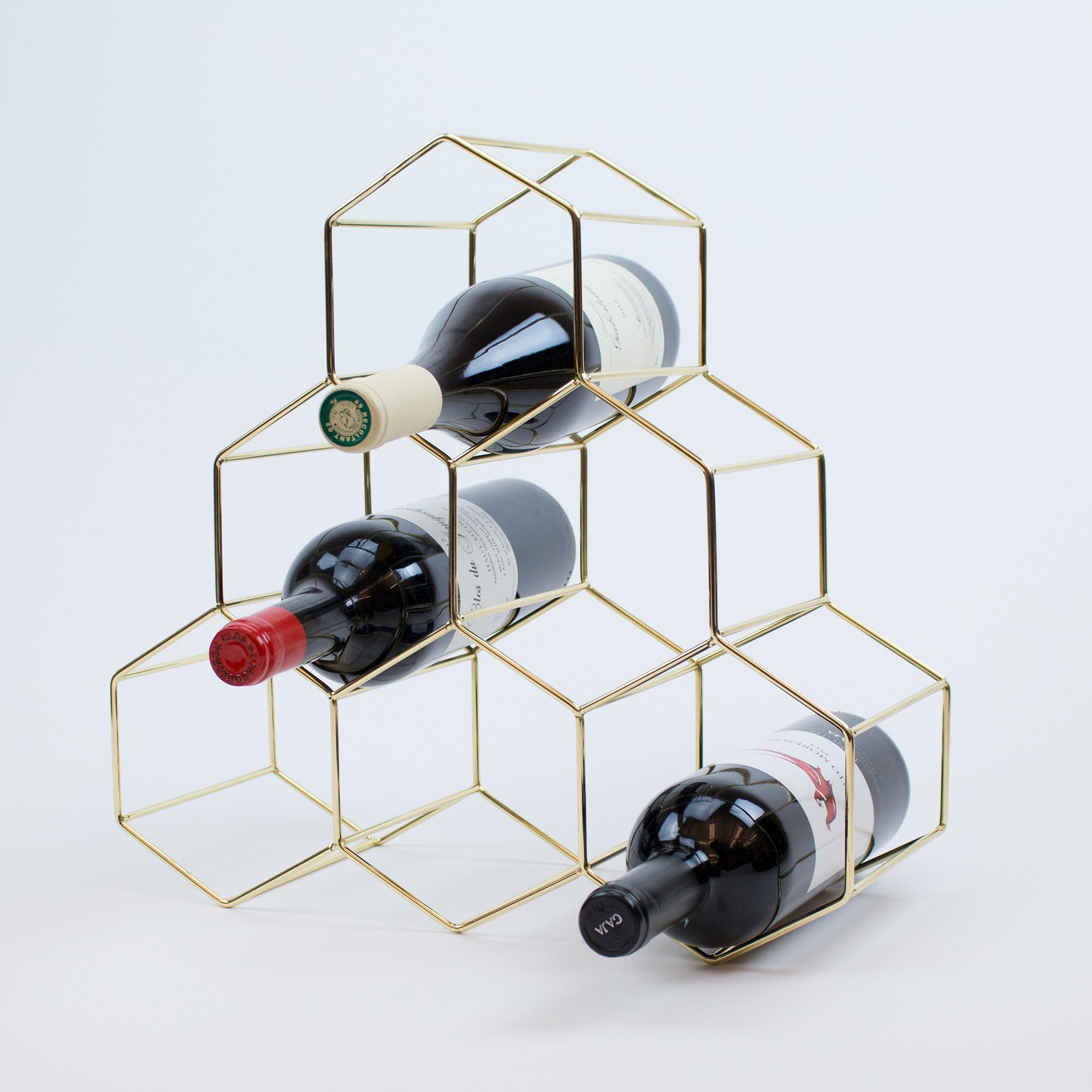midcentury modern gold metal wine rack