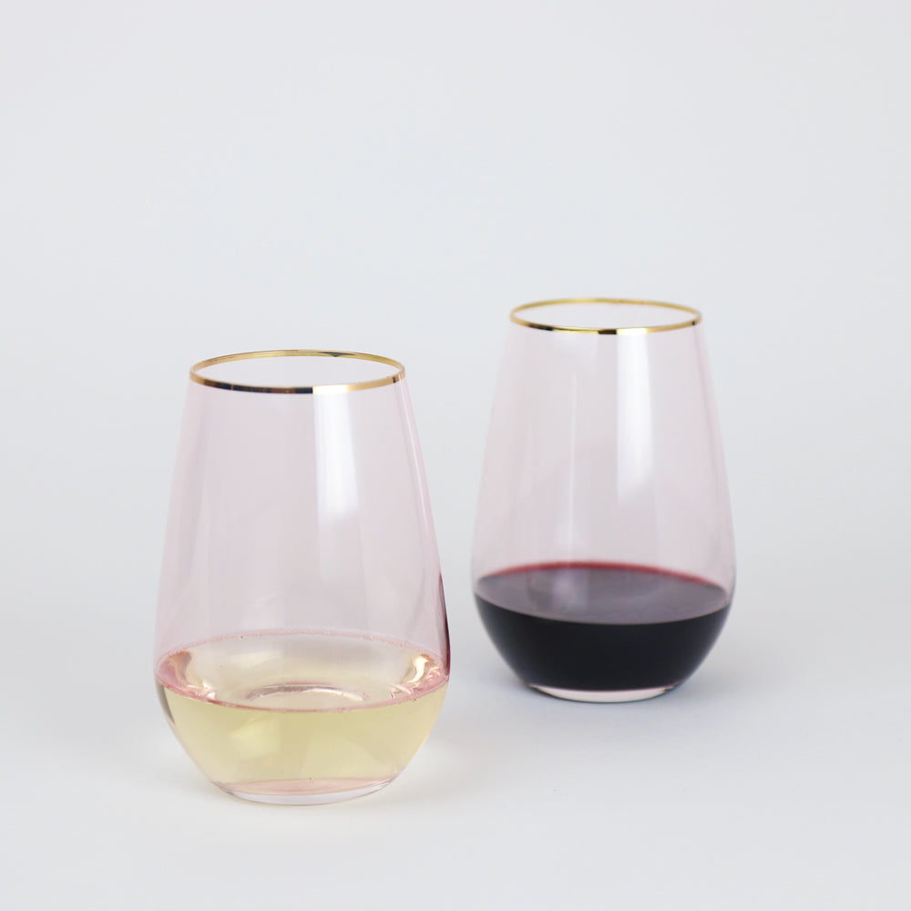 Wonderland Rose Crystal Stemless Wine Glasses (Set of 2)