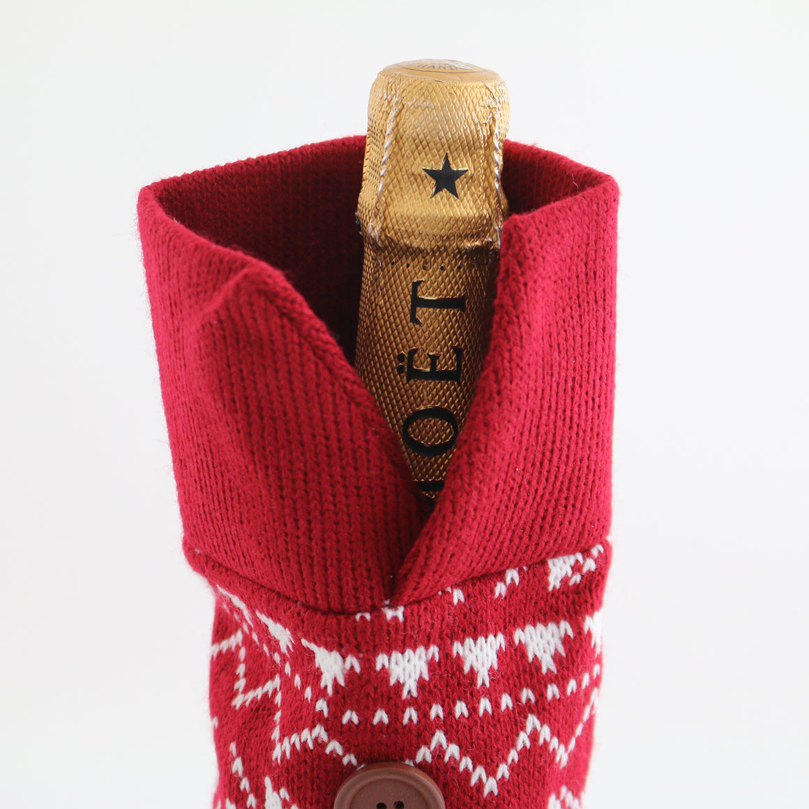 Full Wine Bottle Knit Holiday Sweater