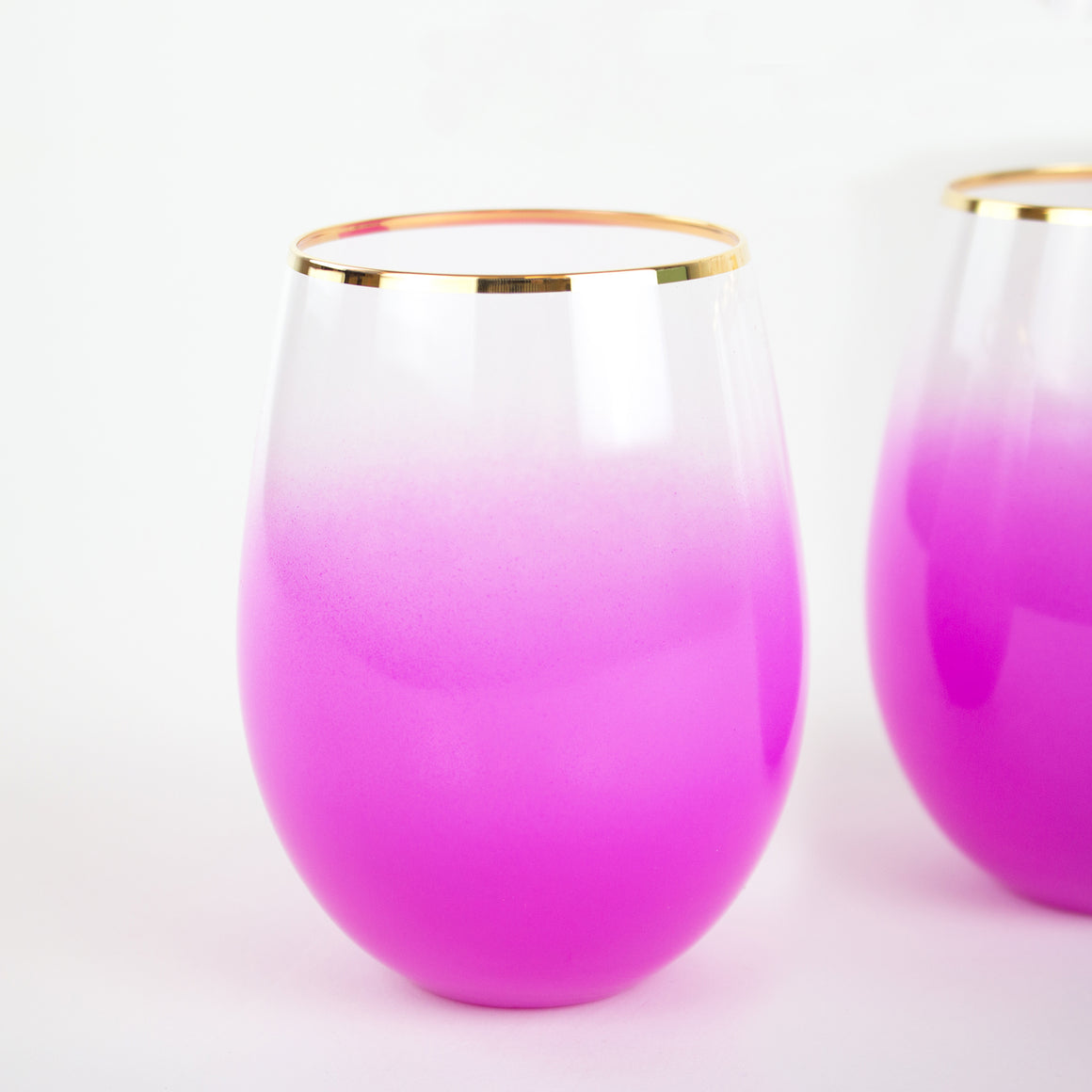 Bougainvillea Pink Stemless Wine & Cocktail Glasses (Set of 2)