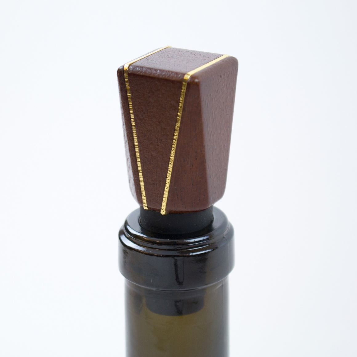 Mid-Century Modern Gold and Wood Wine Bottle Stopper