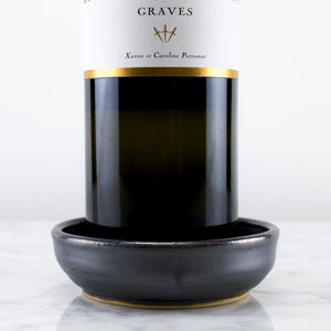 Ceramic Wine Bottle Coaster (Metallic Black)