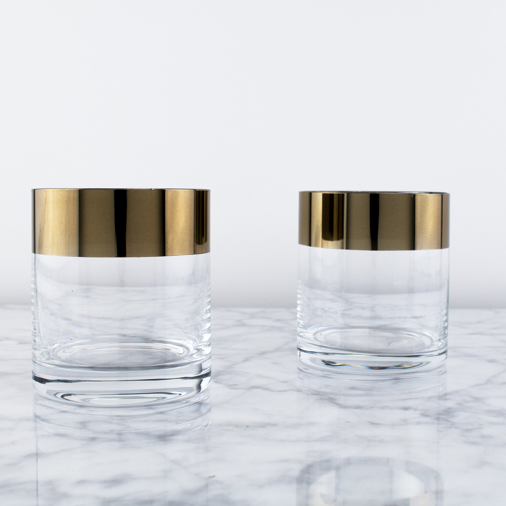 Bronze Rim Crystal Tumblers (Set of 2)