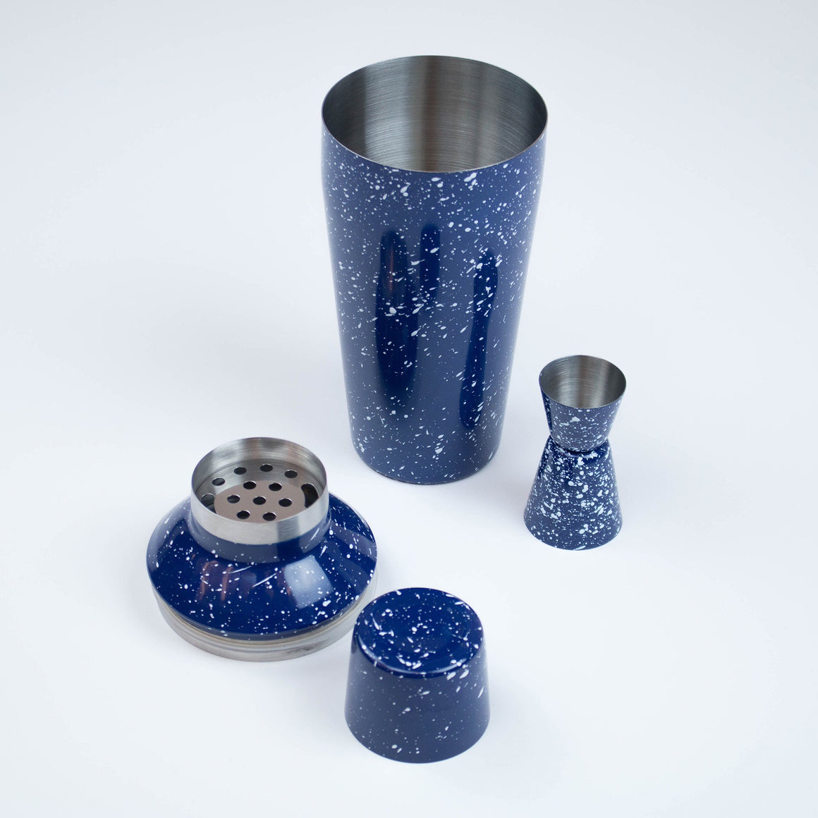 Blue & White Enamel Cocktail Shaker
