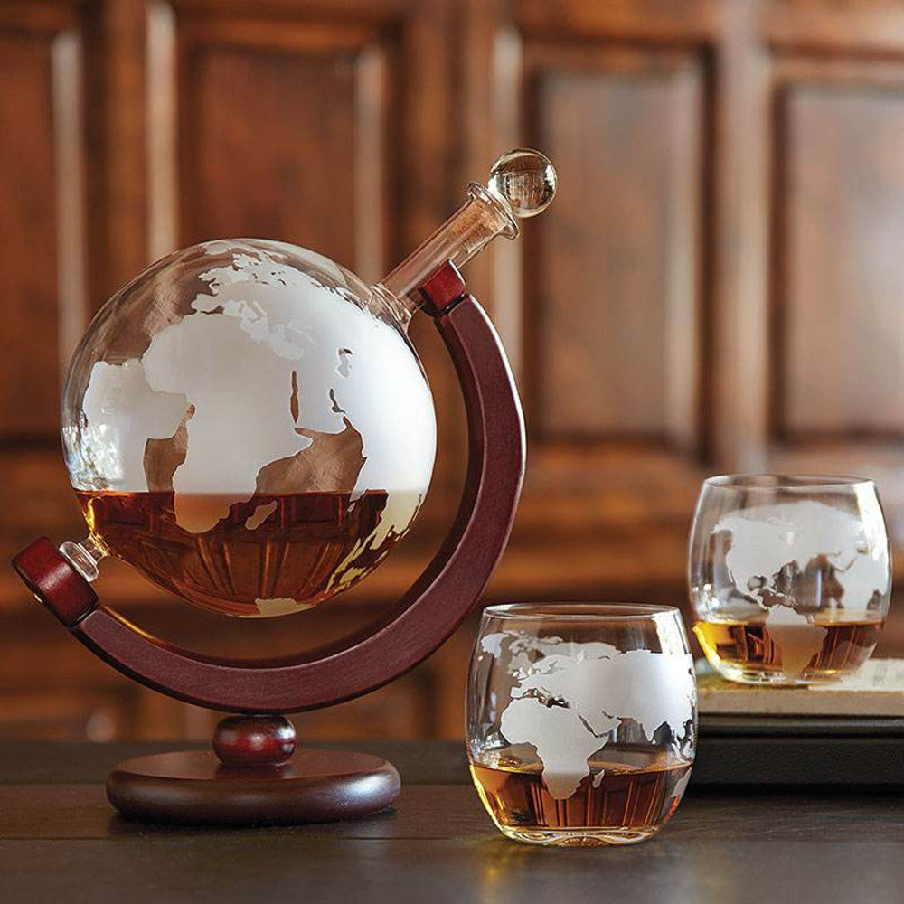 Etched Glass Globe Whisky Decanter and Glasses Set