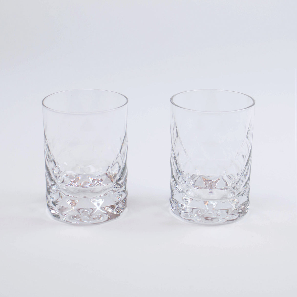 Mid-Century Modern Crystal Whiskey Tumblers (Set of 2)