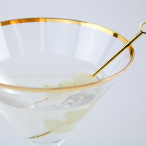 Gold Rimmed Crystal Martini Glass (Set of 2)