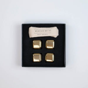 Glacier Rocks Stainless Gold Plated Whiskey Stones (Set of 4)
