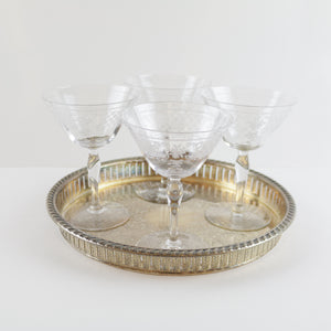 Antique Crystal Coupe Glasses with Silver Serving Tray