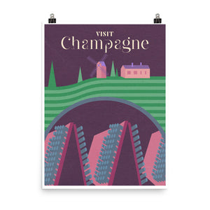 Champagne Wine Travel Poster