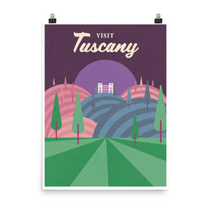 Tuscany Wine Travel Poster