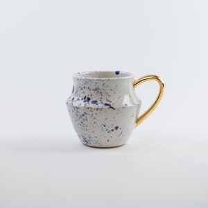 Gold/Blue Ceramic Splatter Mugs (Set of 2)