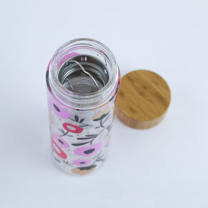 Flowering Glass Travel Infuser Mug