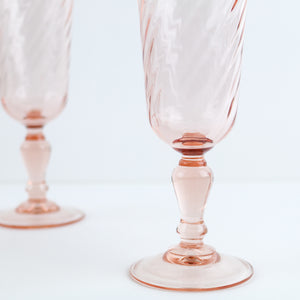 Vintage Pink French Champagne Flutes