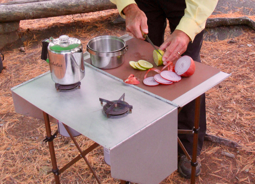 Voyageur Stove easily converts to a food prep table