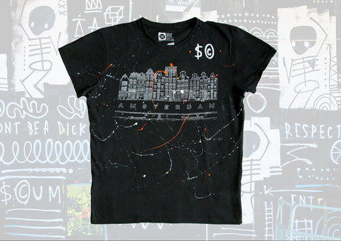 Wearable Art - Hand Finished Black T-Shirt Amsterdam print M/L