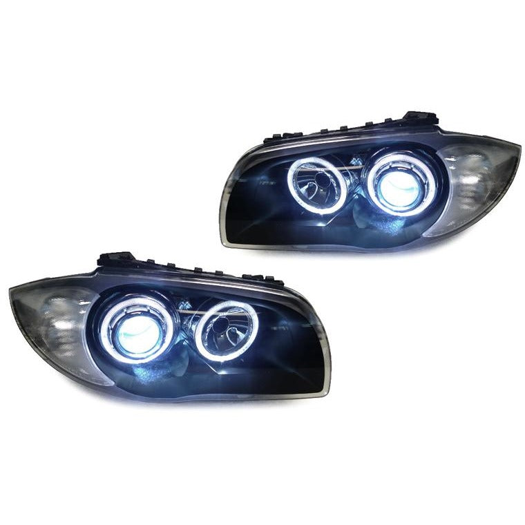 DEPO BMW E82 / E88 PROJECTOR XENON HEADLIGHTS WITH V2 ANGEL EYES - AEUROPLUG